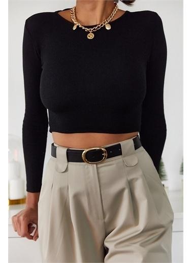 XHAN Kahverengi Sırt Detaylı Bluz 1Kxk2-44702-18 Siyah